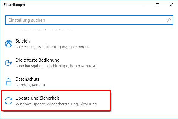 Windows 10 Einstellungen_Update und Sicherheit