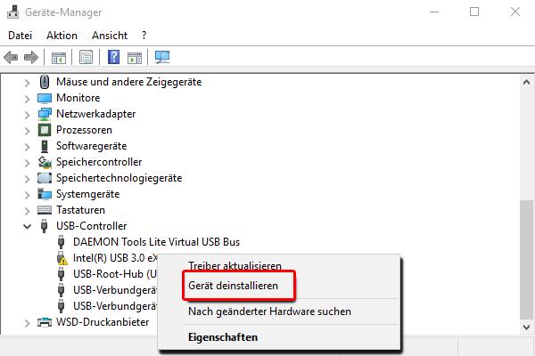Gerät Manager_USB Controller_Treiber deinstallieren