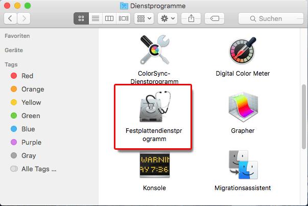 Mac Dienstprogramme Festplattendienstprogramm sd karte formatieren