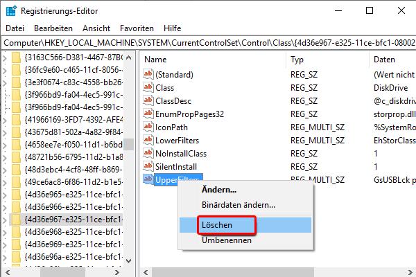 Registrierungs Editor_GUID_UpperFilters_Löschen