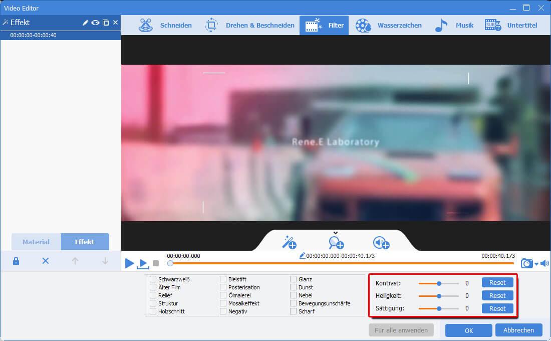 Renee Video Editor Pro_Filter_Kontrast, Helligkeit, Sättigung ändern