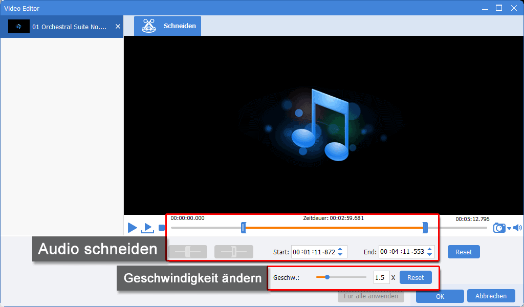 Renee Video Editor Pro_Musik_Musik schneiden