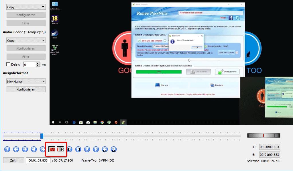 Video schneiden Tool Avidemux Startzeit und Endzeit einstellen