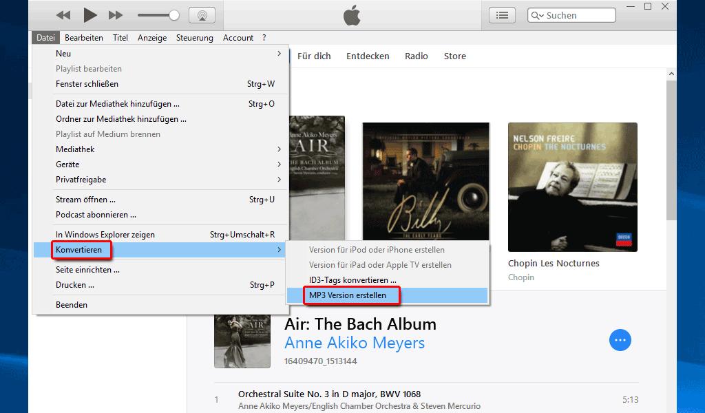 iTunes_Datei_Konvertieren_MP3 Version erstellen