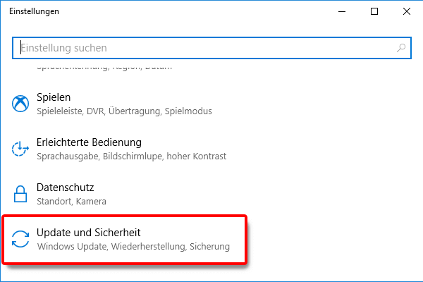 Einstellungen_Update und Sicherheit klicken