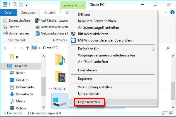 Windows Explorer_Partition_Eigenschaften klicken