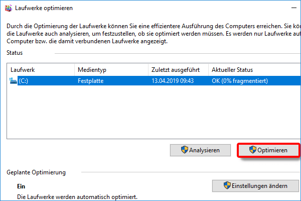 Windows Explorer_Partition_Eigenschaften_Tools_Optimieren_Optimieren klicken