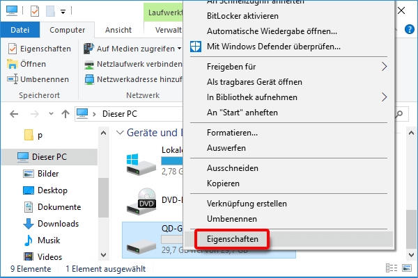 Windows Explorer_USB Stick_Eigenschaften klicken
