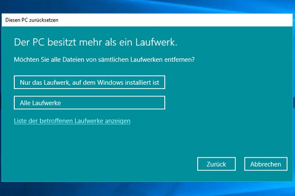 Einstellungen_Update und Sicherheit_Wiederherstellung_Alle entfernen_Nur das Laufwerk, auf dem Windows installiert ist.
