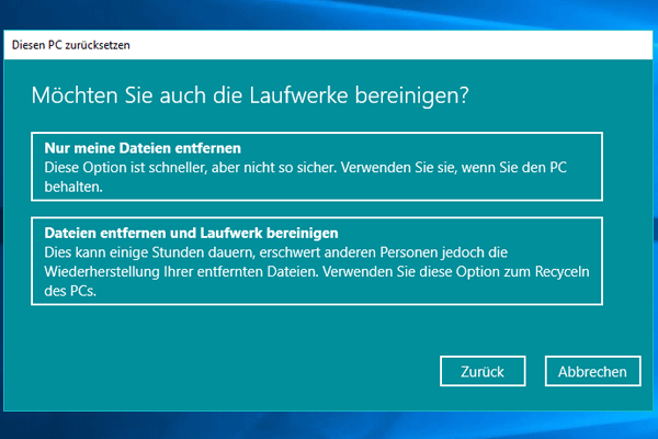 Einstellungen_Update und Sicherheit_Wiederherstellung_Alle entfernen_Nur das Laufwerk_Nur Dateien entfernen.