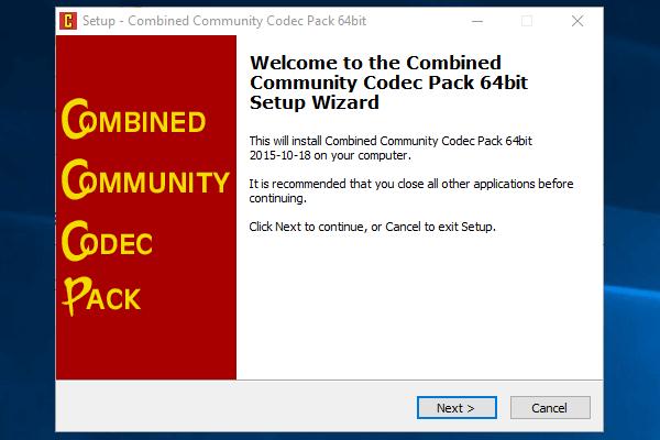 Combined Community Codec Pack installieren