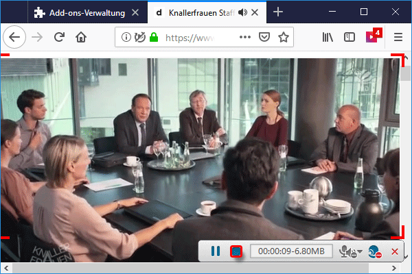 Video Aufnahme von Web beenden