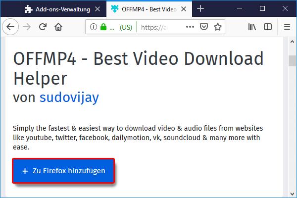 Firefox_Add ons_PlugIns OFFMP4 suchen_klicken_zu firefox hinzufügen