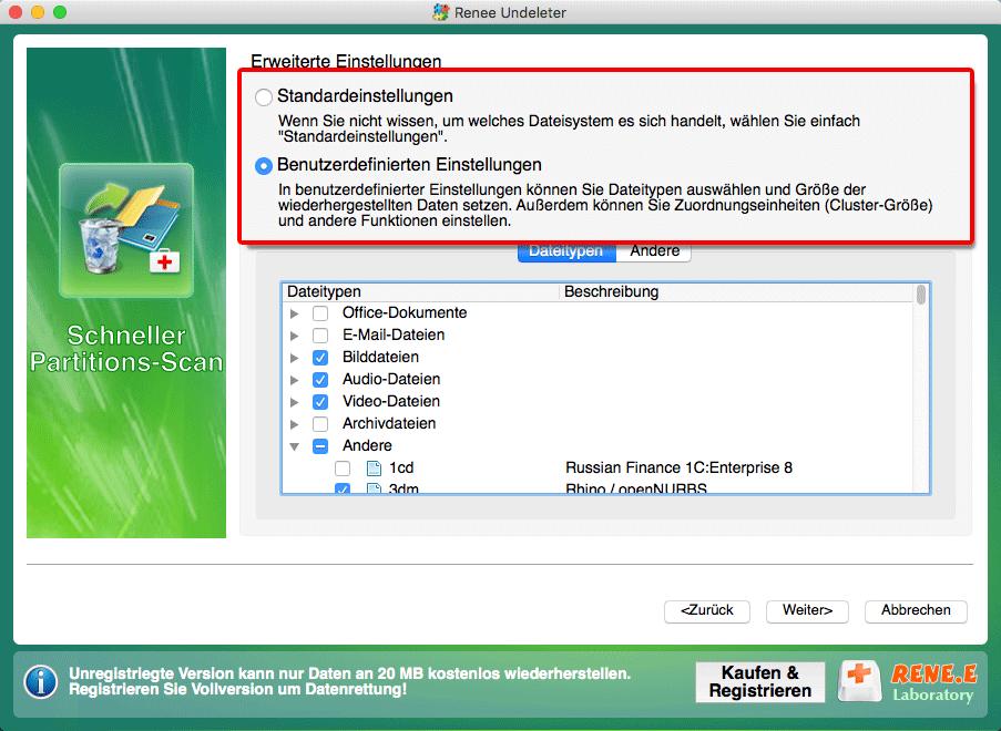 Datei wiederherstellen_Dateityp auswählen