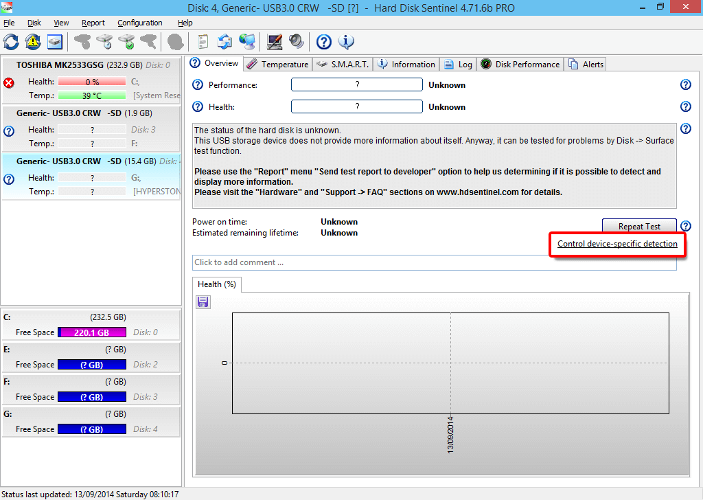 Geräte spezifische Erkennung analyse durchführen