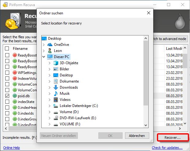 Recuva_Datei und Pfad wiederherstellen
