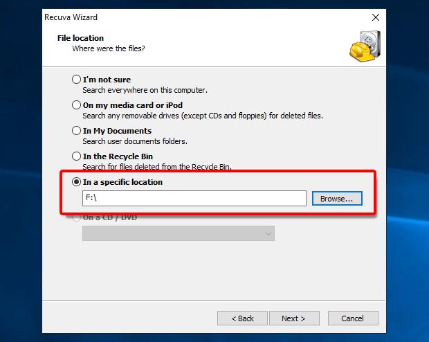 Recuva_konkrete Laufwerk auswählen