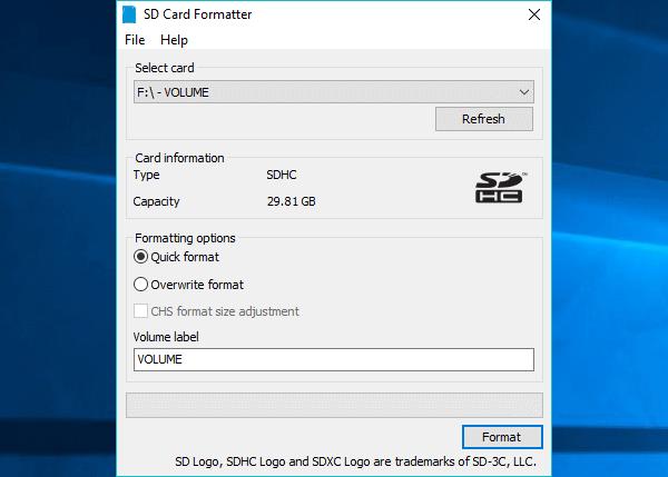sd karte lässt sich nicht formatieren, SD Card Formatter durchführen