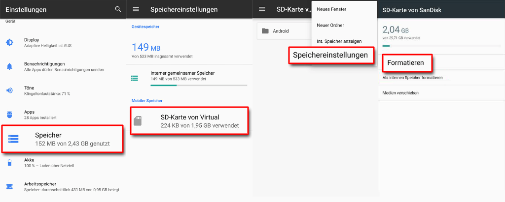 SD Karte formatieren bei Android