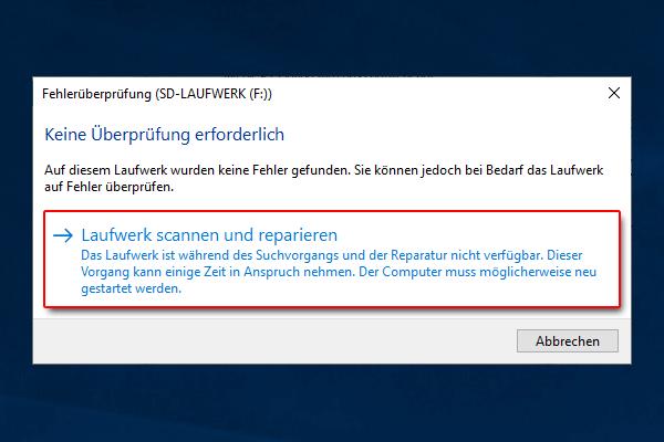 SD Karte wird nicht erkannt_Laufwerk scannen und reparieren