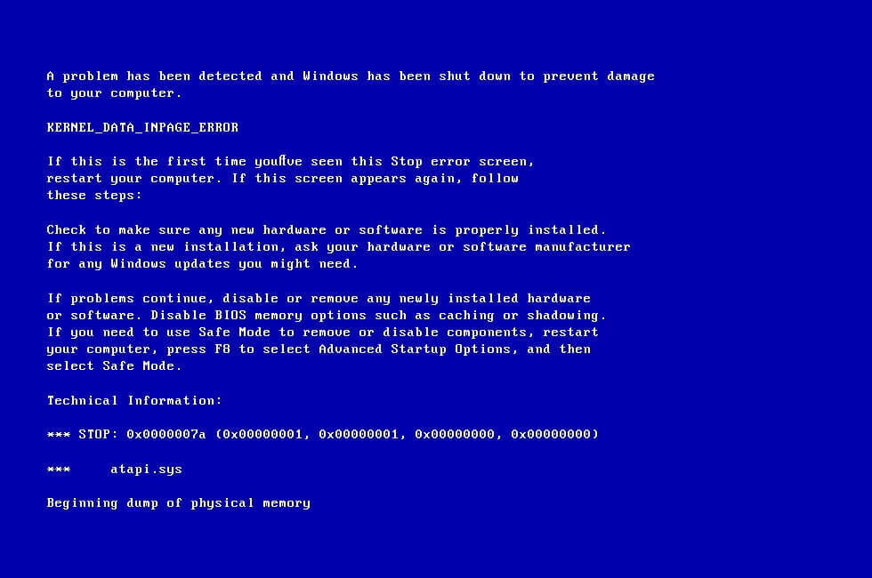 KERNEL DATA INPAGE ERROR: 0x0000007a