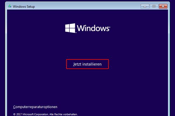 Windows 10 von USB booten und installieren