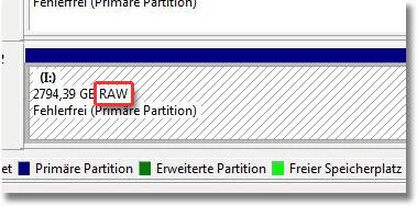 CHKDSK ist für RAW Laufwerke nicht verfügbar